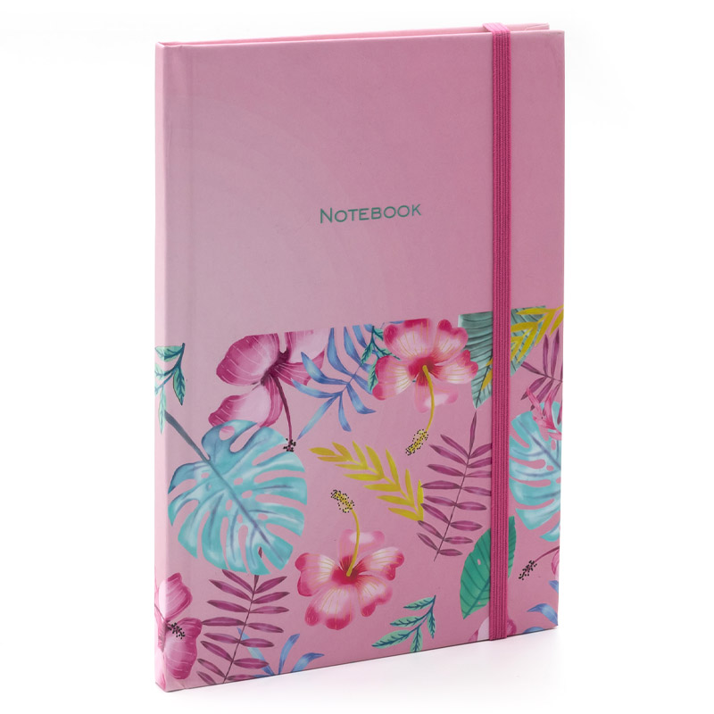 Carnet notite A5 linie 96foi file crem 70g. Feather cop.roz Soft touch+elastic  (14x20)